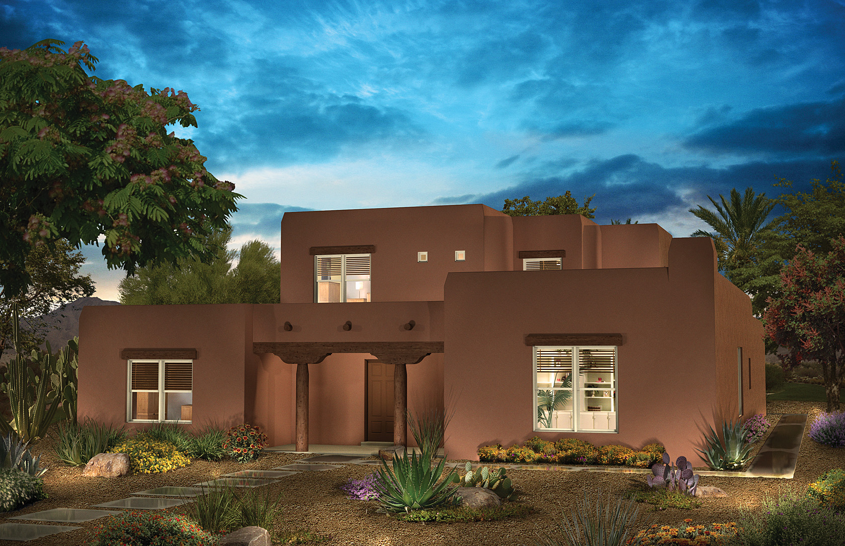 Home Elevation For N Style : Delightful pueblo style houses home plans